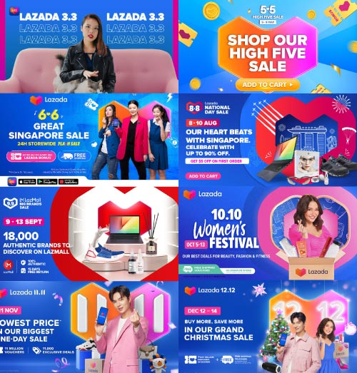 lazada shopping holiday banners