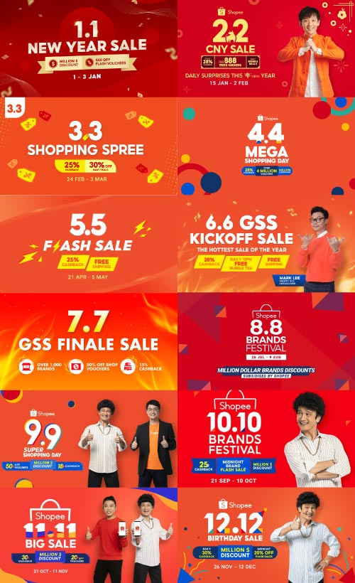 shopee shopping holiday banners